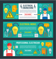 Banners for electrical engineering vector