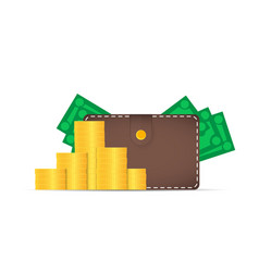 Brown wallet with money dollars stick out of the vector