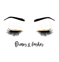 Brows and lashes lettering vector