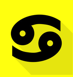 Cancer sign black icon with flat vector