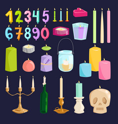 candle numbers with bone fire vector image