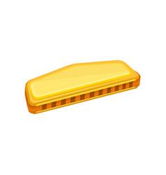 Cartoon of golden harmonica small vector