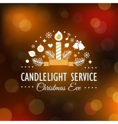 Christmas eve candlelight service invitation vector