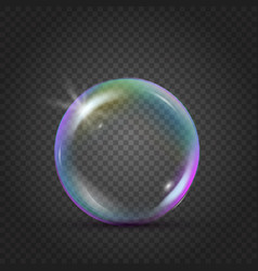 Colorful realistic bubble with rainbow reflection vector