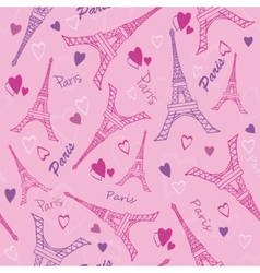 Eifel Tower Paris Love Pink Purple Drawing vector image vector image