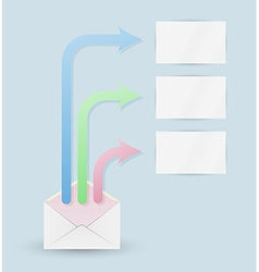 envelope and three arrows with blank papers vector image
