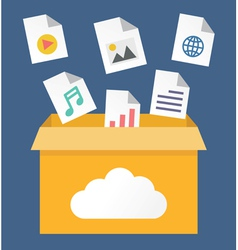 File storage in cloud vector image