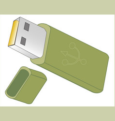 flash drive on white background vector image vector image