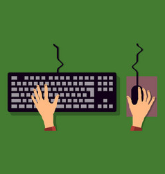 flat keyboard and mouse hand typing vector image