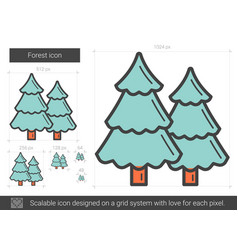 Forest line icon vector