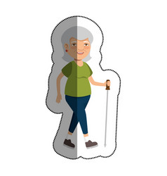Grandmother with sport clothes avatar character vector