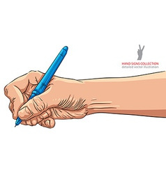 Hand writing with pen detailed vector image