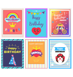 happy birthday cards set vector image