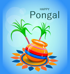 Happy pongal greeting card on blue background vector