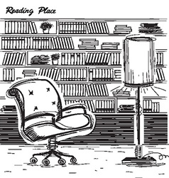 Interior reading room black sketchy on white vector image vector image
