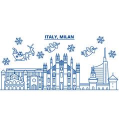 Italy milan winter city skyline merry christmas vector