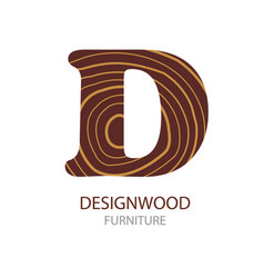Logo letter concept of saw cut tree trunk vector