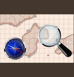 magnifying glass compass old map vector image