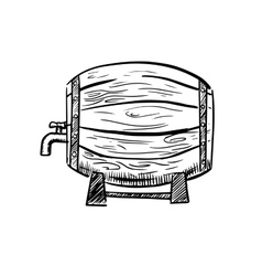 Old wooden wine or beer barrel sketch vector