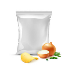 Potato crispy chips with onion and sealed bag vector
