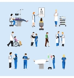 Set of doctors and patients in hospital vector