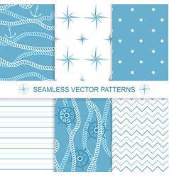 Set of sea and nautical backgrounds in blue and vector