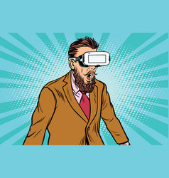 Shocked hipsters in vr glasses vector