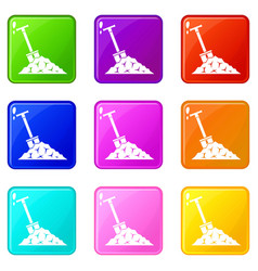 Shovel in coal set 9 vector