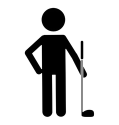silhouette character golf player uniform vector image