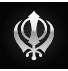Silver khanda sikh icon on black background vector