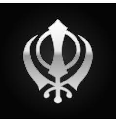 Silver khanda sikh icon on black background vector