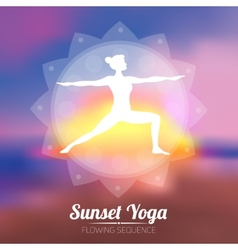 Sunset yoga poster vector