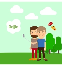 Two boys taking selfie vector