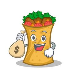 with money bag kebab wrap character cartoon vector image