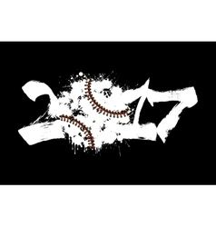 Abstract number 2017 and baseball vector