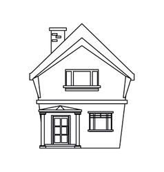 American house domestic chimney outline vector