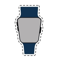 Blue smart watch wearable technology line vector