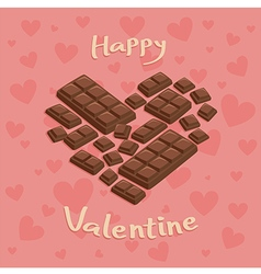 Valentine heart chocolate bar pink vector
