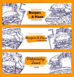 Fast food restaurant takeaway menu banner set vector