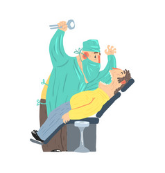Cartoon scary dentist character with male patient vector