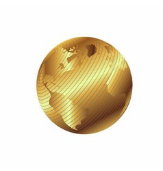 Golden globe planet with geographical vector