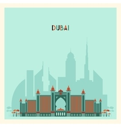 Dubai city skyline silhouette flat trendy design vector