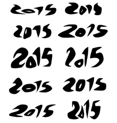 2015 date in black organic fluid fonts over white vector