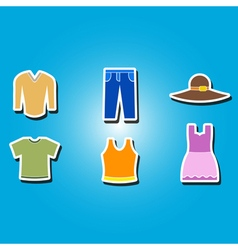 Color icons with garments vector