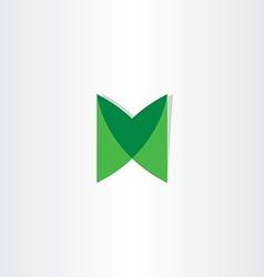 green letter m logotype design vector image
