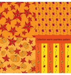 Four warm seamless pattern with floral elements vector