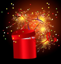 Red gift box with sparkler vector