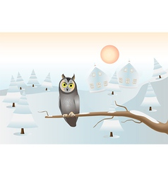 sitting owl - christmas card vector image