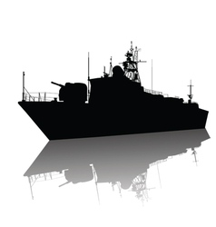 Ship detailed silhouette vector