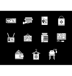 White glyph style online store icons set vector